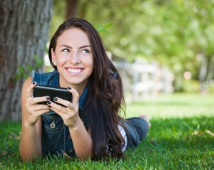 Woman mobile phone smiling
