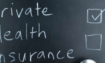 Private Health Insurance on Blackboard in form of checklist