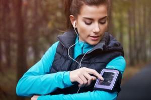 Woman running music