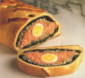 Russian Coulibac includes fish, rice and onions wrapped and baked in pastry.