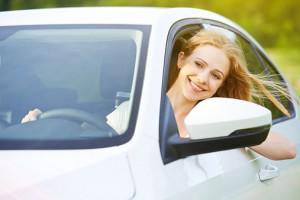 Woman car window down