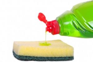 Dishwashing liquid and sponge